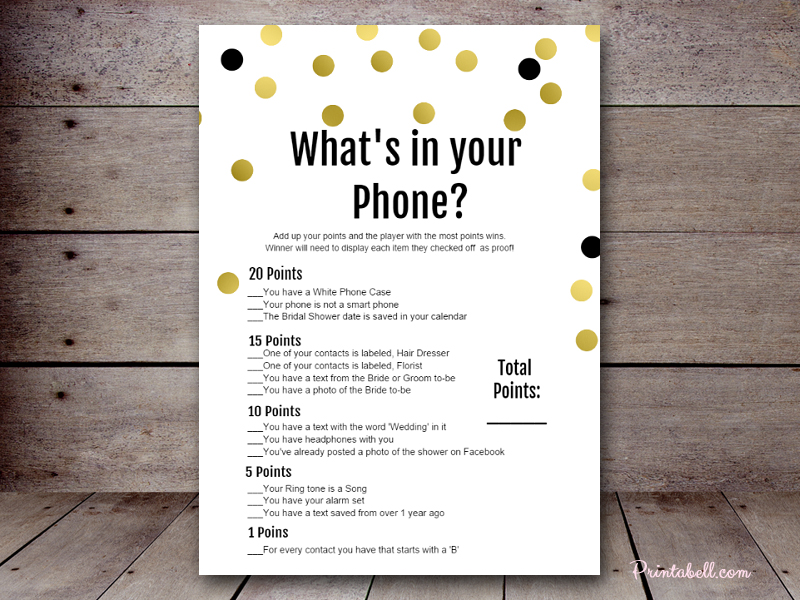Unusual image with what's in your phone game free printable