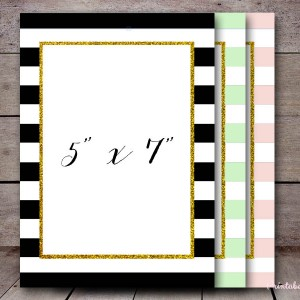 bs001 gold glitter frame invitation, editable stripes colors