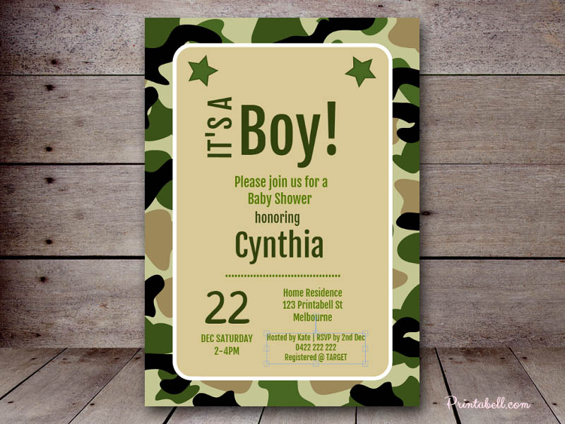 Kids party invitations printabell create 7x5 camo military invite bs145 filmwisefo Choice Image