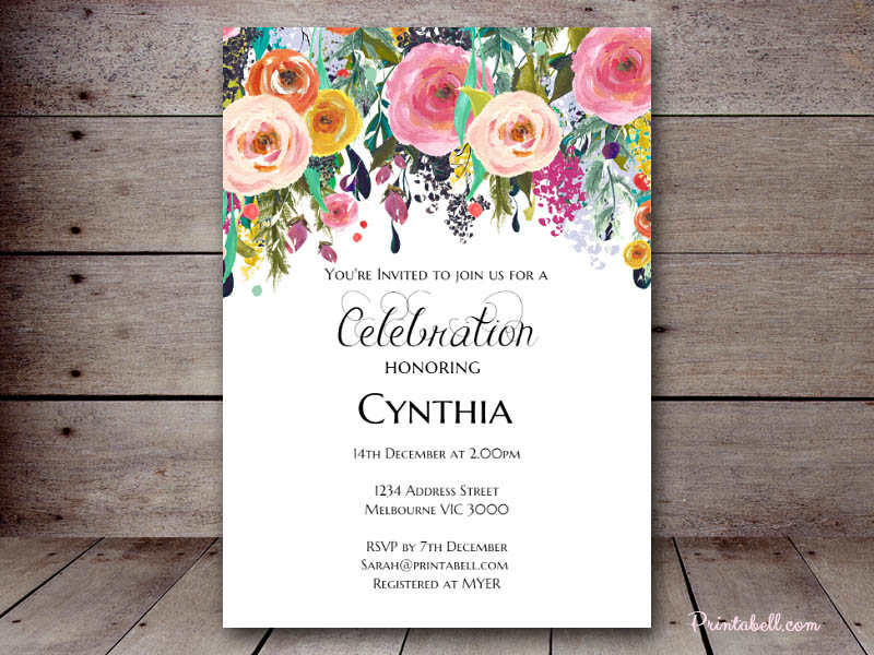 5 X7 Shabby Chic Invite Sn34 Use This Template