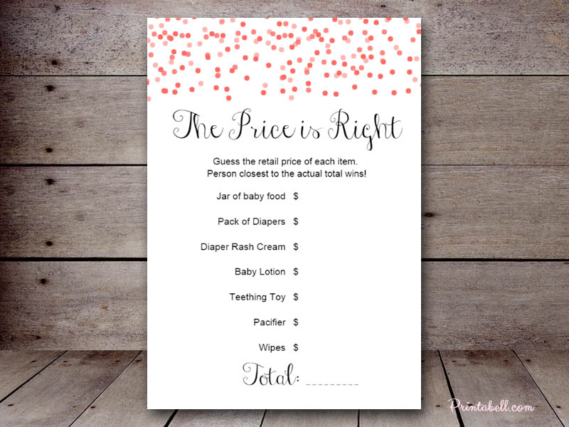Baby shower price is right template free free printable price is free printable baby shower price is right polycomgirlsorg maxwellsz