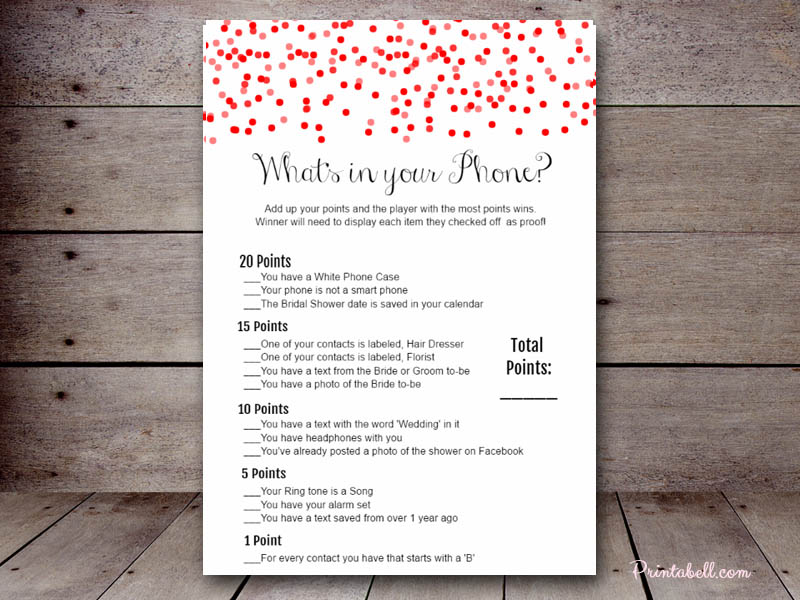 Bridal What's in your Phone – Printabell • Create