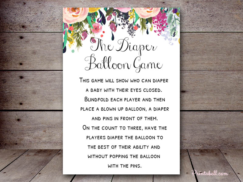 Diaper Balloon Game Printabell Create