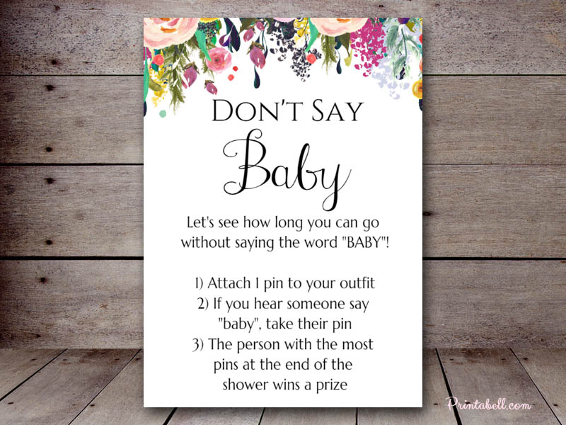 photo about Don T Say Baby Printable referred to as Dont Say Boy or girl Printabell Make