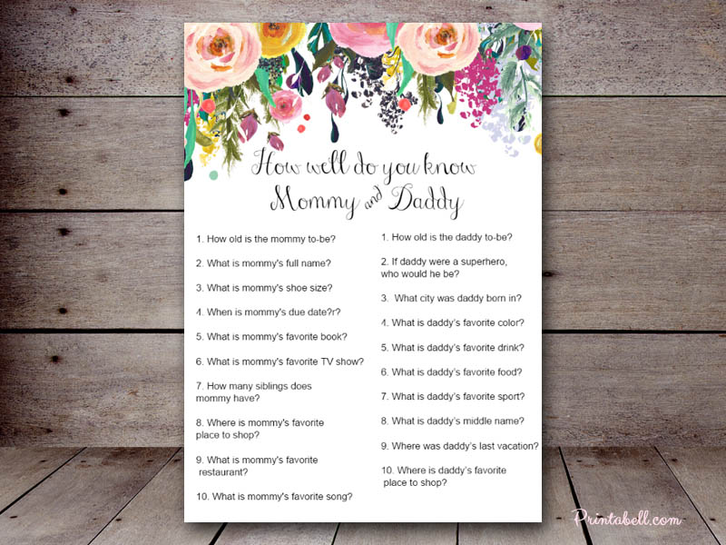 baby shower games printable how well do you now mommy and