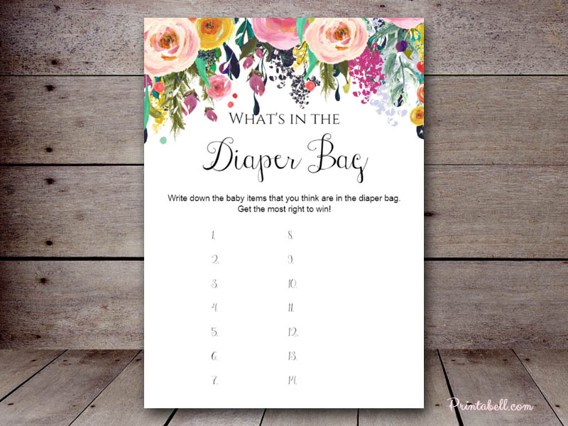 What S In The Diaper Bag Printabell Create