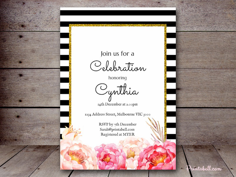 Editable bridal shower invitations printabell create 5x7 peonies invite bs115m filmwisefo