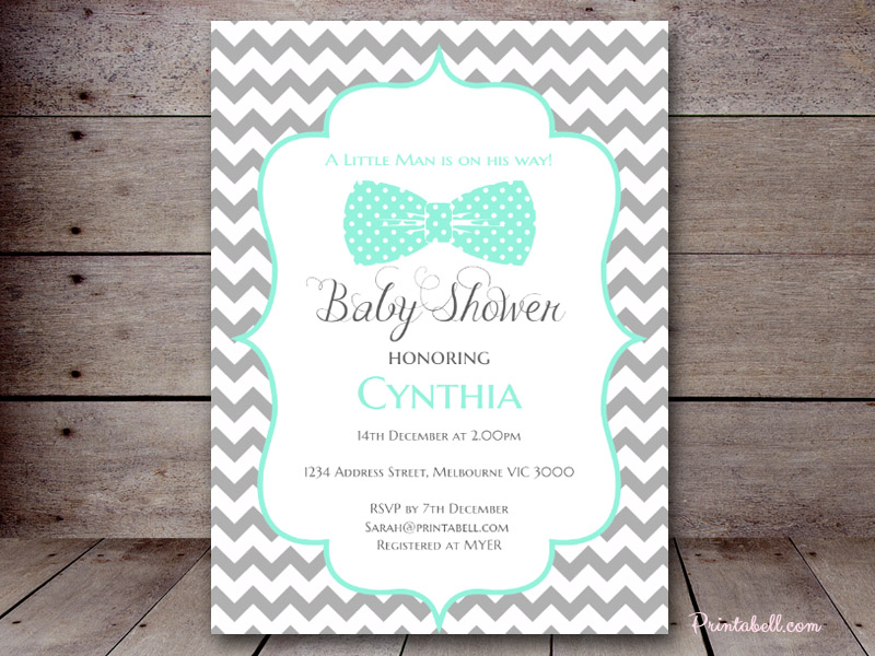 Baby shower invitations printabell create 5x7 little man bows invite use this template pronofoot35fo Image collections