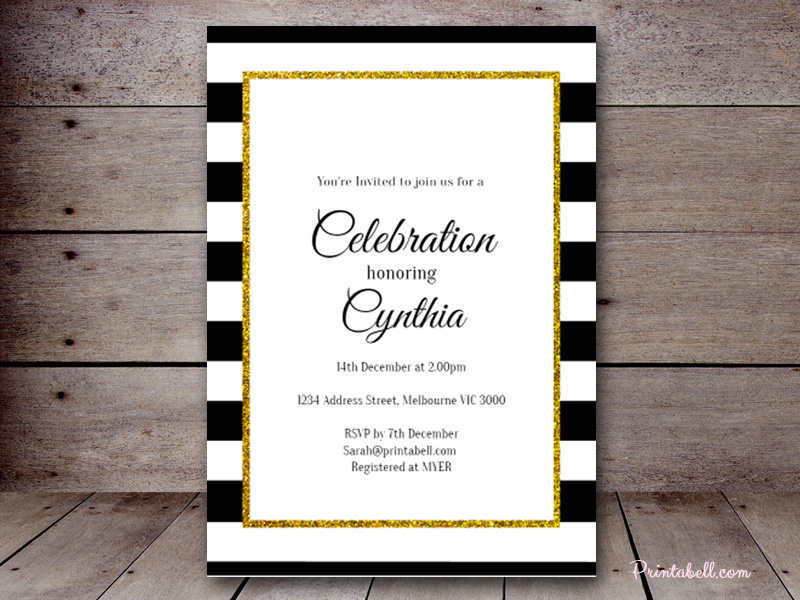 Editable bridal shower invitations printabell create 5x7 black gold invite bs442 filmwisefo