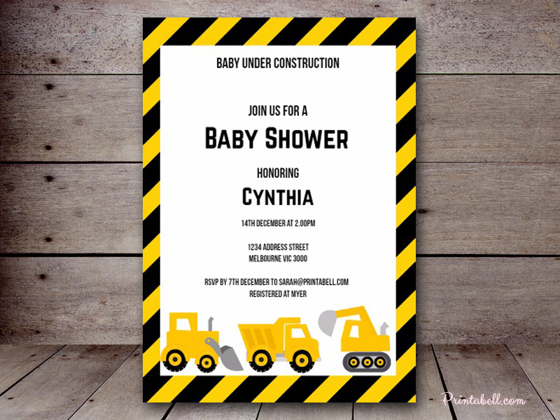 tlc20 editable construction baby shower invitation printable truck
