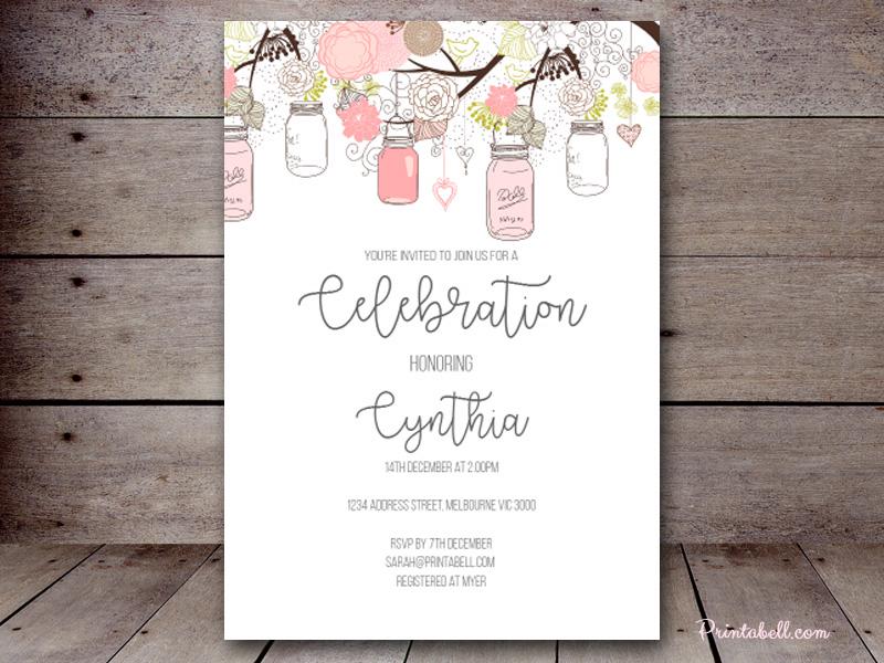 Editable baby shower invitations printabell create 5x7 pink mason jars invite bs459 filmwisefo