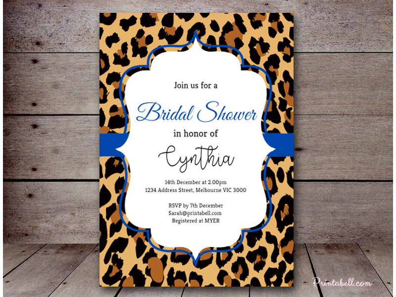 Editable bridal shower invitations printabell create 5x7 blue leopard invitation bs431 filmwisefo