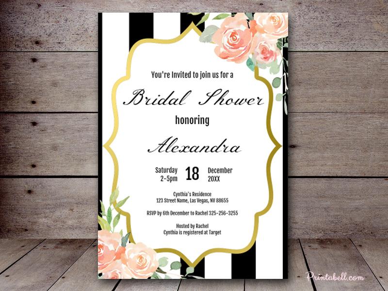 Bridal shower invitations printabell create 5x7 black stripes elegant zz02 filmwisefo Choice Image