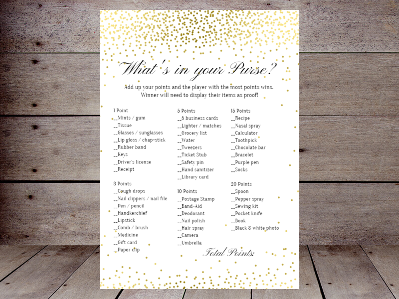 gold confetti purse game use this template