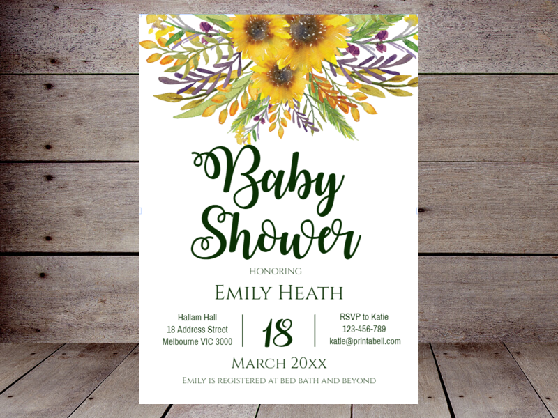 Editable baby shower invitations printabell create sunflower baby shower filmwisefo