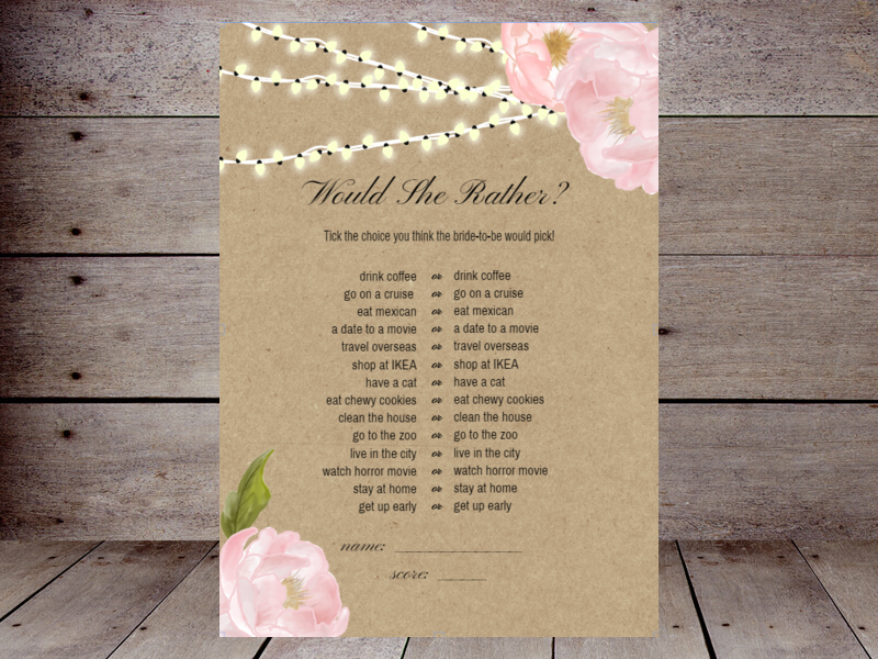 picture regarding Would She Rather Bridal Shower Game Free Printable named Would They Alternatively Bridal Shower Printabell Establish