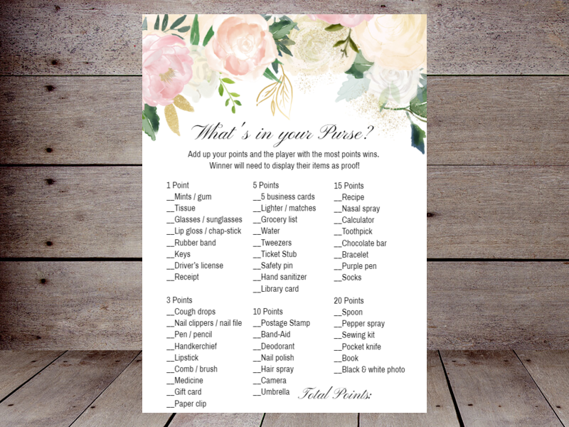 graphic about What's in Your Purse Free Printable named Bridal Whats inside of your Purse Printabell Crank out