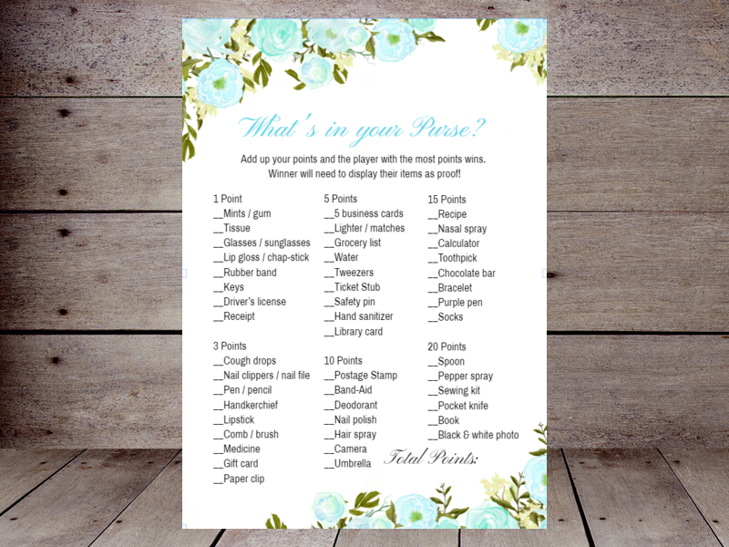 photo relating to What's in Your Purse Printable called Bridal Whats inside of your Purse Printabell Make