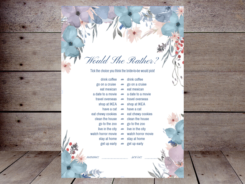 photo relating to Would She Rather Bridal Shower Game Free Printable identified as Would They Fairly Bridal Shower Printabell Develop